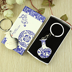 Personalized Blue and White Keyring Favor in Gift Box (Set of 6)