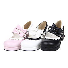 Lolita Shoes Sweet Lolita Handmade High Heel Shoes Bowknot 4.5 CM Pink Black White For PU Leather/Polyurethane Leather