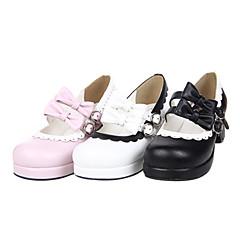 נעליים לוליטה מתוקה עבודת יד עקב גבוה נעליים סרט פרפר 4.5 CM לבן / Black / ורוד ל נשים עור פוליאוריתן
