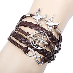Women's Charm Bracelet Leather Bracelet Wrap Bracelet Basic Friendship Multi Layer Handmade Personalized Leather Love Infinity Brown