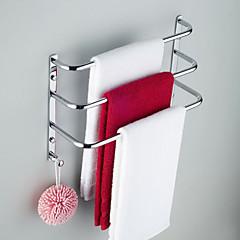 zeitgenössischen Chrom-Finish drei Bars Handtuchhalter mit Haken, ohne Verschraubung