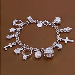 Fashion Mässing Silver Plated 13 Hängen Charm Bracelet
