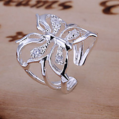 Ring Wedding Daily Jewelry Crystal Women Engagement Ring 1pc,Adjustable Silver