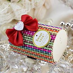 Drahokamu srdce design Dřevěná krabička s Bowknot Candy-Sada 50 (více barev)