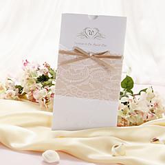 Wedding Invitasjon Med Lace og Bow - sett med 50