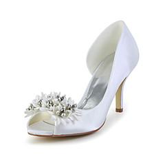 Damen Hochzeitsschuhe Absätze/Zehenfrei High Heels Hochzeit Elfenbein/Weiß