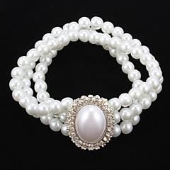 Elegant Pearl Strand With Rhinestone Women's Bracelet