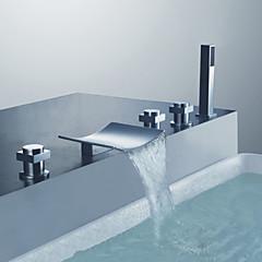 Kortárs Kifolyócső és zuhany Kézi zuhanyzót tartalmaz with  Kerámiaszelep Három fogantyúk öt lyuk for  Króm , Zuhany csaptelep / Kád