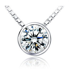 1 Carat Round Cut 925 Silver White Gold Plated SONA Diamond Pendant For Women jewelry Set