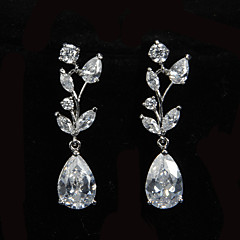 Glamorous Platinum belagt med Zirkon Dame Drop Earrings