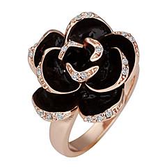 Oro chapado en oro rosa anillo Declaración de dulces de mujer (Negro) (1 PC)