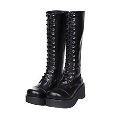 Sapatos Lolita Clássica e Tradicional Lolita Plataforma Sapatos Cor Única 7 CM Preto Para Feminino Couro PU/Couro de Poliuretano