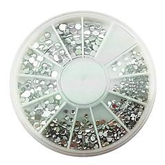 Mixs Rozmiar Akryl Srebrny White Diamond Nail Art Dekoracje