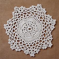 12pcs/set, Elfenbein Vintage-Handarbeit gehäkelt Deckchen Coaster, zufällige Farbe