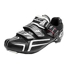 TIEBAO Unisex Preto + prateado alta Power Holding Road Bike ciclismo sapatos