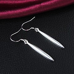 Simple Design Brass Silver Plated Drop Earrings