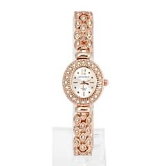 Frauen ovalen Diamanten Metall Quarz Analog Armband Uhr (1pc)