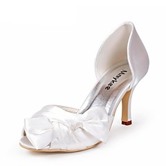 Women's Spring / Summer / Fall Heels Satin Wedding Stiletto Heel BowknotBlack / Blue / Pink / Purple / Red / Ivory / White / Silver /
