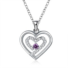 Silver-Plated Heart Shape Silver Necklace(More Colors)