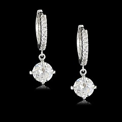 Vermeil Brass Plated With Cubic Zirconia Compact Circle Solitaire Earrings