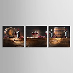 Leinwand Kunst Stillleben Wein and Barrel Set von 3