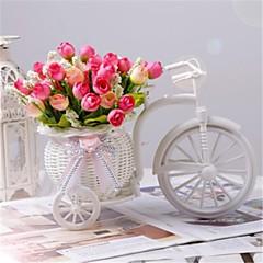 """#(2) 1 Ast Polyester / Kunststoff Rosen Tisch-Blumen Künstliche Blumen #(L:6.7"""",H:3"""",W:6.2"""")"""