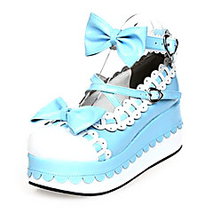 Lolita Shoes Sweet Lolita Princess Platform Shoes Bowknot 7 CM Pink / Blue For Women PU Leather/Polyurethane Leather