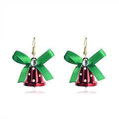 Lureme Fashion  Christmas Bowknot Red Small Bell Anez Alloy Drop Earrings