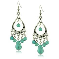 Chic Unique Tibetan Silver Hollow Design Turquoise Drop Earrings