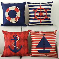 sæt med 4 nautiske mønster bomuld / linned dekorative pudebetræk