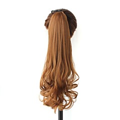 Excellent Quality Synthetic 20 Inch Brown Long Curly Clip In Ribbon Ponytail Hairpiece