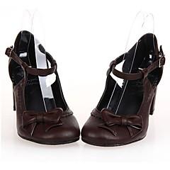 Sapatos Gótica Lolita Salto Alto Sapatos Laço 6.5 CM Marrom / Branco / Preto Para Feminino Couro PU/Couro de Poliuretano