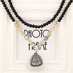 europese stijl mode strass driehoek zwart opaal kralen lange ketting