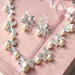 Biżuteria Ustaw Damskie Ślub Jewelry Sets Pearl imitacja / Stop Rhinestone Naszyjniki / Náušnice Kość słoniowa
