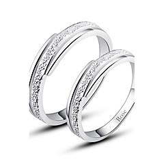 Anéis Casais Prata Prata Prata As cores de embelezamento estão disponiveis na imagem.