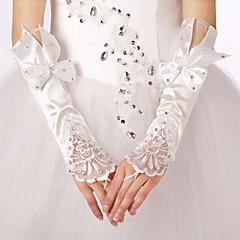elástica sem dedos luvas de noiva de cetim com arco com guarnição do laço com strass