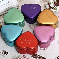 Personalize Medium Heart Shaped Metal Favor Box - Set of 24 (More Colors)