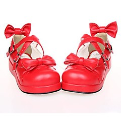 Lolita Shoes Sweet Lolita Lolita Platform Shoes Bowknot 3 CM Black White Red For PU Leather/Polyurethane Leather