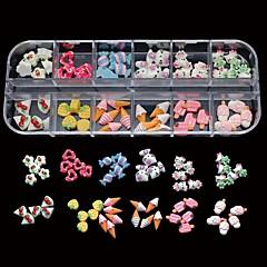 60pcs 12 estilos mistura de resina de doces linda DIY Nail art decoração