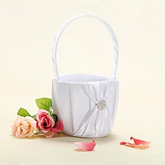 Flower Basket In White Satin With Ribbon Bow Flower Girl Basket