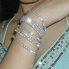 Hot Metal Alloy And Rhinestone Stretch Bracelet