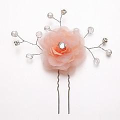 Women's / Flower Girl's Rhinestone / Alloy / Imitation Pearl / Chiffon Headpiece-Wedding / Special Occasion Hair Pin Round