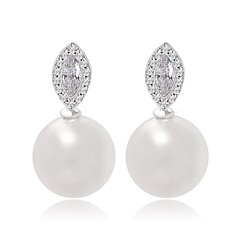 New Arrival Big Pearl Stud Earrings Classic Marquise Cut Cubic Zircon And Pearl Earrings For Women
