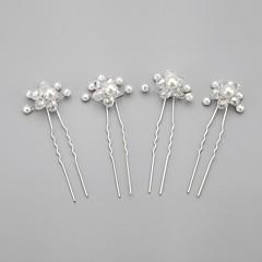 Mulheres Menina das Flores Crostal Liga Imitação de Pérola Capacete-Casamento Ocasião Especial Alfinete de Cabelo 4 Peças