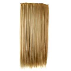 24 tommer 120g lang syntetisk straight klip i hair extensions med 5 klip hår stykke