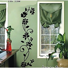Wandaufkleber Wandtattoo, schwarze Blume Reben PVC Wandaufkleber