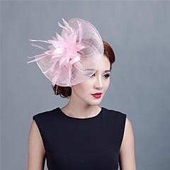 Femme / Jeune bouquetière Plume / Tulle Casque-Mariage / Occasion spéciale / Décontracté / Extérieur Coiffure / Fleurs