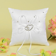 Ring Pillow In Satin With Ribbon And Double Heart Rhinestone