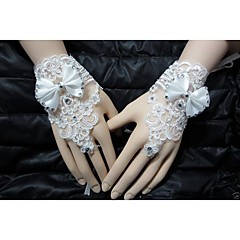 Luxury Diamond Bow Lace/Voile Wrist Length Fingerless  Bridal Wedding/Party Glove
