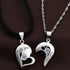 Couples' Silver Heart Pendants With Cubic Zirconia(2 pcs)